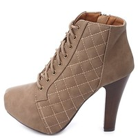 QUILTED LACE-UP CHUNKY HEEL PLATFORM BOOTIES