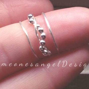 Knuckle Ring, Midi Ring, Above Knuckle Ring, Mid Finger Ring, Silver Beads, Silver Midi Ring, Silver Knuckle Ring, Sterling Silver Ring