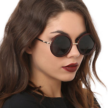 Dark Wood Finish Round Sunglasses
