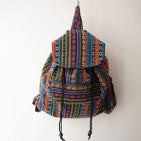 ethnic rucksack, hipster backpack, aztec school bag, tribal backpack, hippie backpack, native american bag,nepali shoulder bag