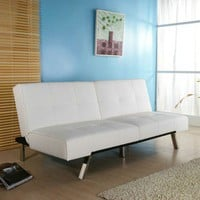Gold Sparrow Jacksonville Leatherette Futon Sleeper Sofa in White
