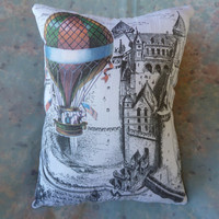 Castle and  Hot Air Balloon Pillow 10 x 8