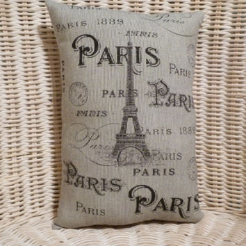 """Paris with Eiffel Tower 11"""" x 8""""  Small Pillow my own unique design..high quality fabrics and sewing"""