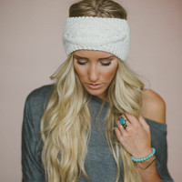 Knitted Headband, Gifts for Her, Best Selling Accessory, Pinterest Favorite, Stocking Stuffer, Cable Knit Ear Warmer in Ivory (HB-3698)