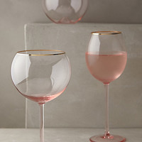 Gilded Rim Stemware by Anthropologie Pink