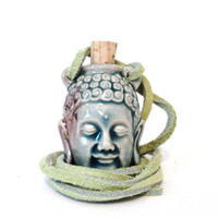 Rear View Mirror Buddha Car Accessory Charm Hanger Meditation Green Suede Leather Christmas Stocking Stuffer Gifts For Him or Her