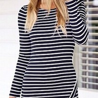 Black White Horizontal Stripe Asymmetrical Long Sleeve Mini Bodycon Dress