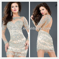 2014 Xt-088 High Quality Sexy Sheer Beaded Short Bodice Tulle Long Sleeve High Neck Formal Dress - Buy Formal Dress,High Neck Beaded Formal Dress,Long Sleeve High Neck Formal Dresses Product on Alibaba.com