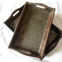 ishandhari's exclusiveserving tray leatherette stiching on bid set of 2 trays