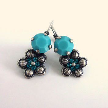 Swarovski crystal and flower drop earrings-  turquoise super cute, GREAT PRICE, Siggy designer inspired earrings