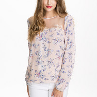 LS WOVEN TOP - peach floral pattern transparent contrast top