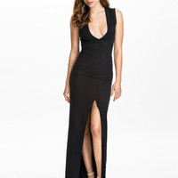 DEEP V SPLIT MAXI DRESS - sleeveless black maxi dress with high slit front
