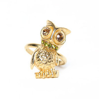 Gold Sitting Owl Ring