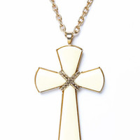 Cream Gold Cross Necklace
