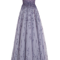 Violet Embroidered Tulle V-Neck Ball Gown by Monique Lhuillier - Moda Operandi