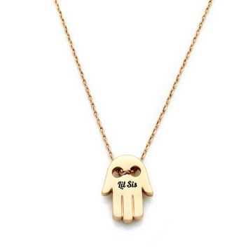 "Gold Lil Sisters Necklace, Hamsa Necklace, Gold Sister Charm with 18""chains for Lil Sister, Perfect gifts for sister"