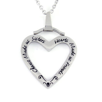 "Sister Heart Necklace, Sister CHarm ""Chance Made Us Sisters"" Engraved, Perfect Sisters Gift 18"" Chains Included"