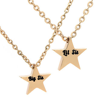 "Sister Necklace Set (2pcs) - Star Necklaces Engraved with ""Big Sis"" and ""Lil Sis"", 18"" Chains Included"