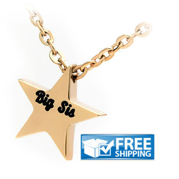 Sister Necklace, Big Sister Star Necklace, Gold Star Sister necklace