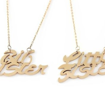 "Sister Necklace Big Sister Little Sister, Sisters Necklaces Set (2pcs), Sister gift 18"" Chains Included"
