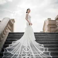 Lace Trumpet Gown with Beautiful Long Train (#PB061) -Made to Order