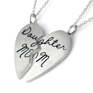 """Mother Daughter Split Heart Necklace Two Heart Necklace Set (2pcs) 18"""" Chains Included"""
