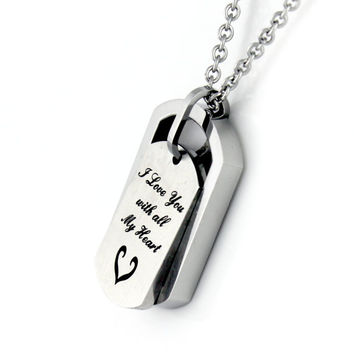 """Love Dog Tag Necklace """"I love you with all my heart"""", Perfect gift 18"""" Chains Included"""