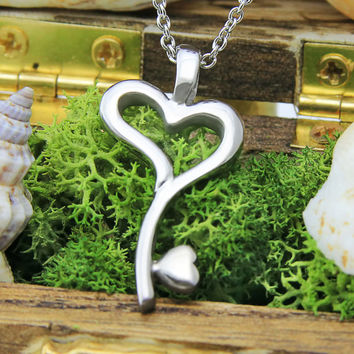 """Key Heart Necklace - Love Necklace, 18"""" Chains Included"""
