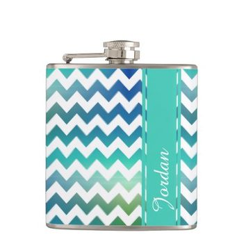 Chevron White Blue Green Sea Toned Flask