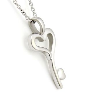 """Key Necklace Heart Necklace Love Key Necklace Perfect Lovers gift 18"""" Chains Included"""