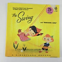 Vintage Childrens Records A disneyland Record 45 RPM The swing 1970s Complimentary US Shipping