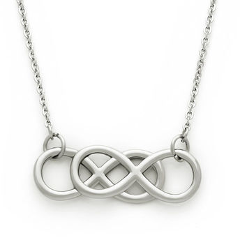Medium Double Infinity Necklace, Infinity Symbol Pendant, Unisex Infinity Symbol Necklace