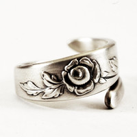 Belle Rose Floral Minimalist Sterling Silver Ring, Oneida Rose Pattern, Handcrafted & Adjustable to Your Size (2220)