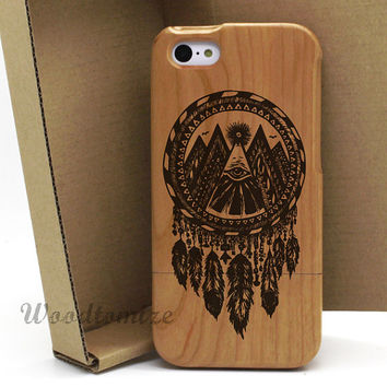 Natural wood dream catcher black color print case, iPhone 4/4s 5/5s 5c real wood case, Samsung s3 s4…