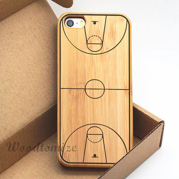 iPhone 5C case, iPhone 5S 5 case, iPhone 4/4s Wood cover, basketball court print wood case, Bamboo,…