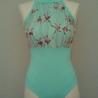 Mock Halter Open Back Leotard ~ Fully Lined ~ Kelly