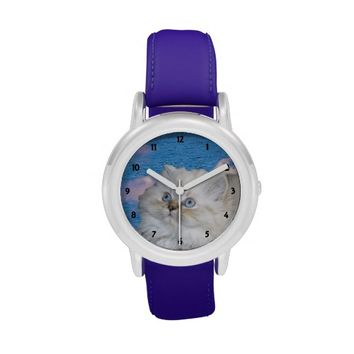 White Cat Kid's Stainless Steel Watch