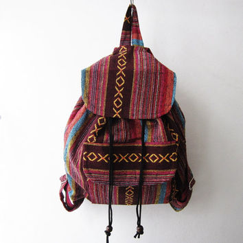 ethnic rucksack, hippie school bag, natice american indian backpack, tribal bohemain backpack,nepali hipster shoulder bag