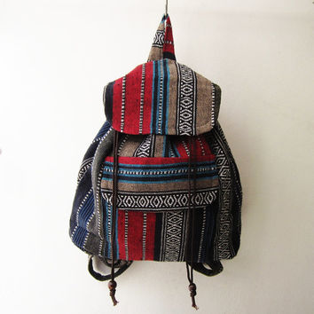 ethnic backpack,aztec rucksack, hippie boho school bag, navajo hippie travel bag native american weekender bag