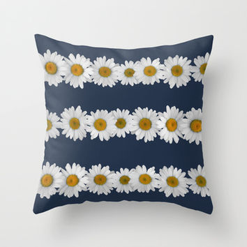 Daisy Chain on Navy Throw Pillow by Tangerine-Tane