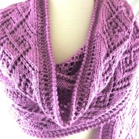 Wrap Ladder Lace Hand Knit Womens Pink Raspberry Caron Simply Soft