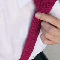 Burgundy Crocheted Necktie, Men's Skinny Tie