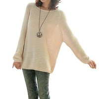 Chuangmei Womens Lady Batwing Sleeve Knit Sweater Loose Casual Pullover Sweaters