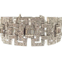 Art Deco Bracelet Wide Geometric Link Book Piece 1920s Wedding Jewelry