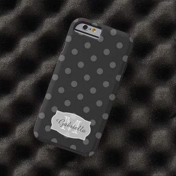 Black PolkaDot: Personalized: iPhone 6 case