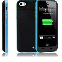 ShineFuture Slim External Rechargeable Backup Battery Charger Charging Case Cover For iPhone 5G 5C 5S With Pop-Out Kickstand 2200mAh (2500mah Blue)