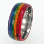 Titanium Ring Wooden Ring Rainbow color wood WP