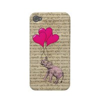 Vintage pink elephant &amp; balloons iphone 4 case-mate case from Zazzle.com