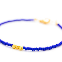 Triple gold bracelet - navy