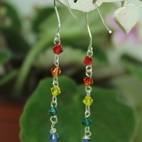 Rainbow dangle earrings Sterling wire and swarovski elements